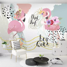 Nordic modern minimalist flamingo geometric lines graffiti mural wall professional production photo wallpaper
