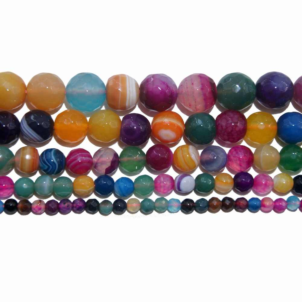 4 6 8 10 MM Faceted Natural Stone Bead Pink Quartz Amethysts Agates Amazon Lapis lazuli For Jewelry Making DIY Bracelet Necklace