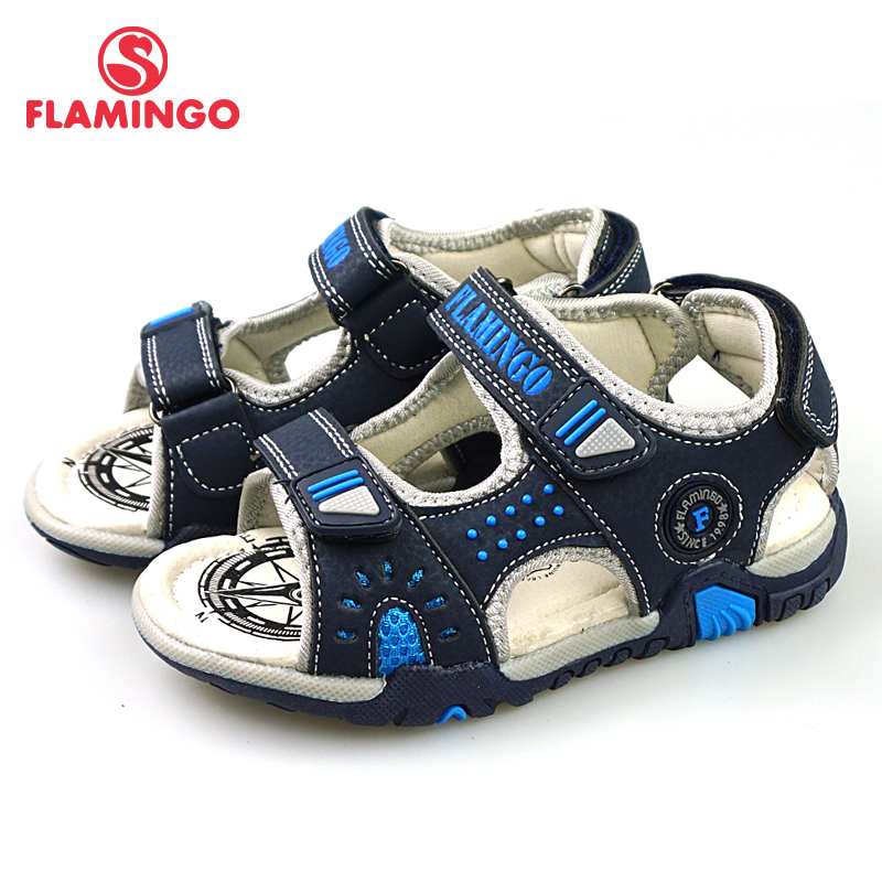 FLAMINGO New Mixed Color Spring& Summer Hook& Loop Casual Sandals Leather Insole Outdoor Shoe For Boy 81S-HL-0789