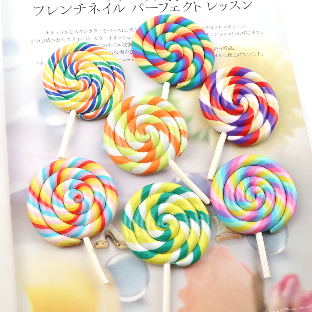 High Quanlity Big Size Rainbow Lollipop Polymer Clay Candy 3D Cabochons For DIY Party Kids Gift Crafts Making Scrapbooking DIY