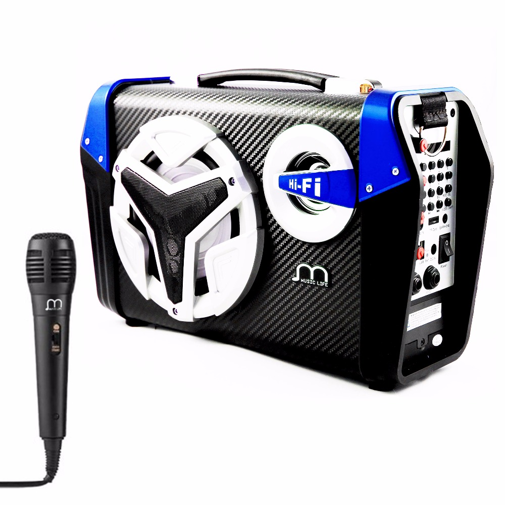 Bluetooth Speaker Karaoke  Portable Wireless with Microphone USB TF Card Rechargeable with FM Radio ecoopro® portable wireless bluetooth speaker with built in mic fm radio tf card cell phone pick up hang up white