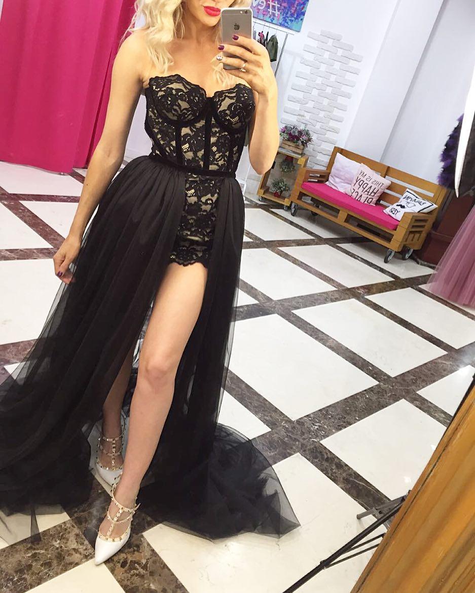 Grande taille courte noir bal De promo robes formelles 2019 Vestido Longo Festa Abiye Gece Elbisesi robes De Gala Robe De soirée
