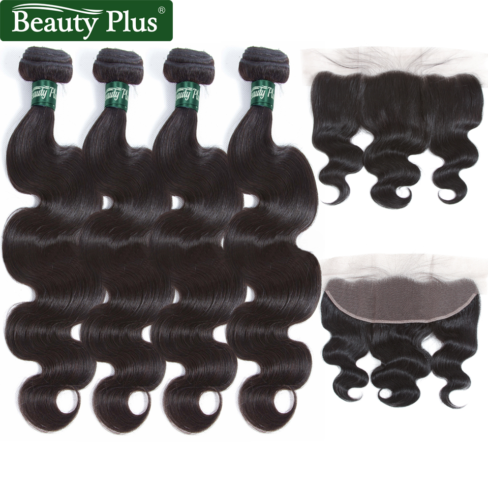 4 Pcs Brazilian Body Wave Human Hair Bundles with Closure Beauty Plus Ear To Ear Pre Plucked Lace Frontal With Bundles Non Remy