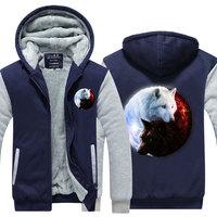 Yin Yang Wolf Printed Hoodies Men 3d Hoodies Man Winter Brand Sweatshirts Jackets Quality Pullover Fashion