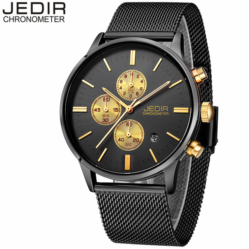 JEIDR Mens Watches Top Brand Luxury MEGIR Mesh Band Men Sport Quartz Watch Black Steel Waterproof Wristwatch relogio masculino запчасть bbb bhg 19 lightfix 130mm