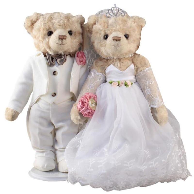 35cm Kawaii Wedding bear Bride Groom Bear Bouquet DOLL TOY Plush Stuffed Teddy Bear Soft Figure