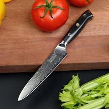 Sunnecko 5 인치 유틸리티 칼 일본 VG10 다마스커스 스틸 주방 요리사 나이프 다용도 칼 G10 핸들 샤프 커팅 엣지