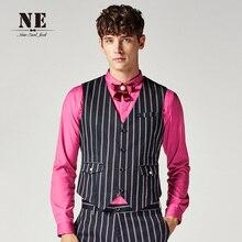 Brand Men Clothing2016New Fashion Colors Stripes V-Neck slim fit men suit vest waistcoat mens formal wedding vests classic vest