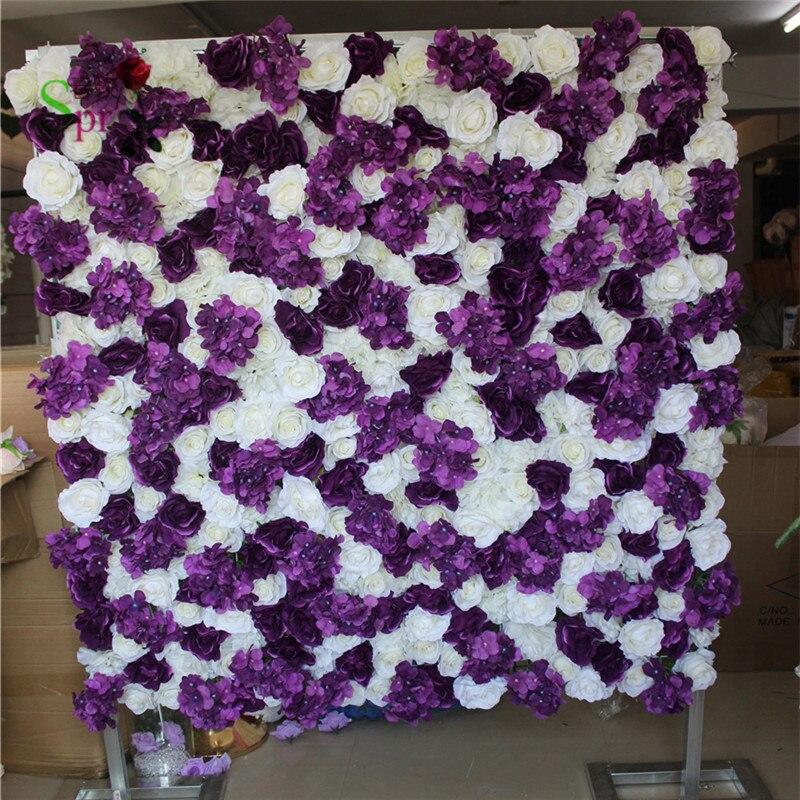 SPR 믹스 흰색 보라색 인공 장미 웨딩 꽃 벽 배경 테이블 중앙 꽃 볼 파티 시장