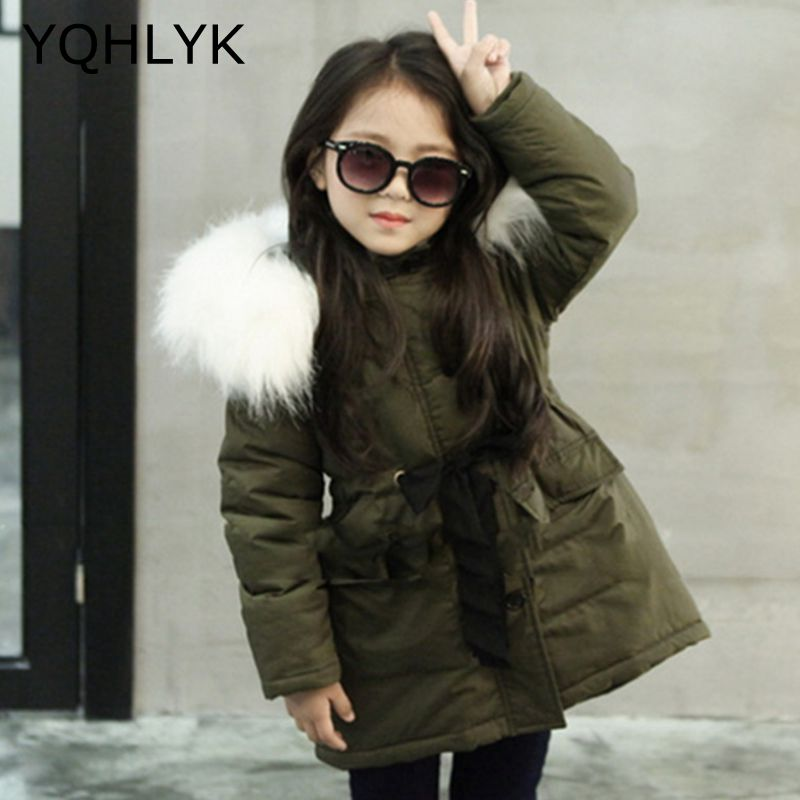 New Fashion Winter Clothes Girls Coat 2018 Korean Children Thick Hooded Zipper Army Green Jacket Casual Warm Kids Clothes W15 mint green casual sleeveless hooded top