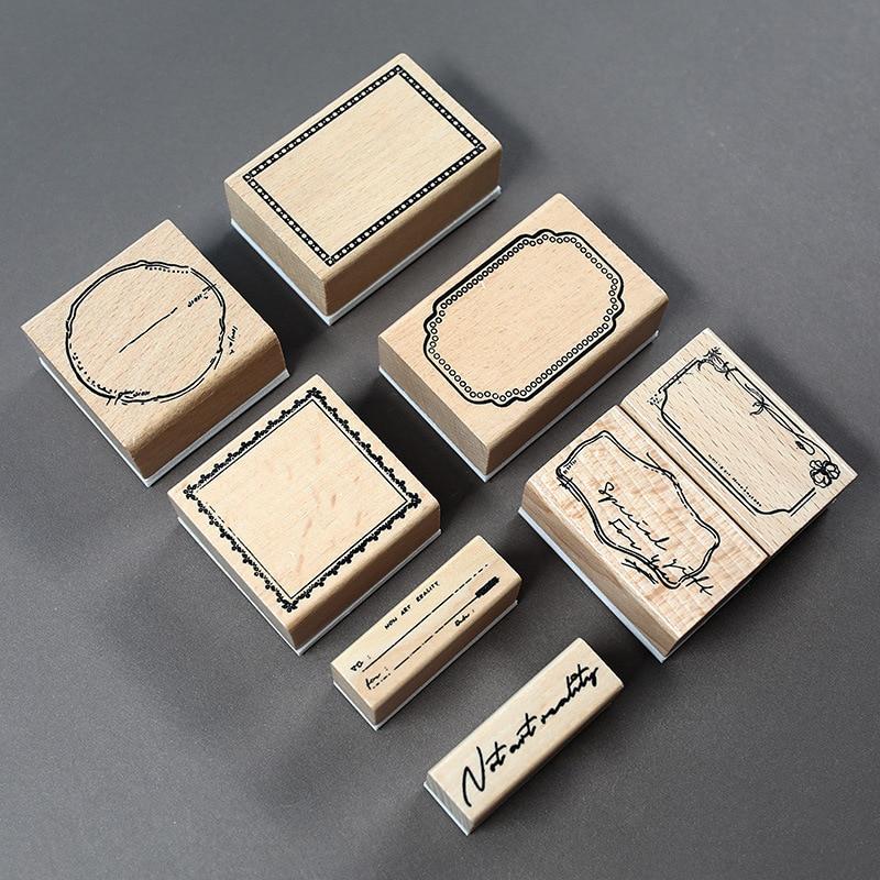 Vintage Frame Label Series Stamp DIY Tag Wooden Rubber Stamps For Scrapbooking Stationery Decorative DIY Standard Stamp