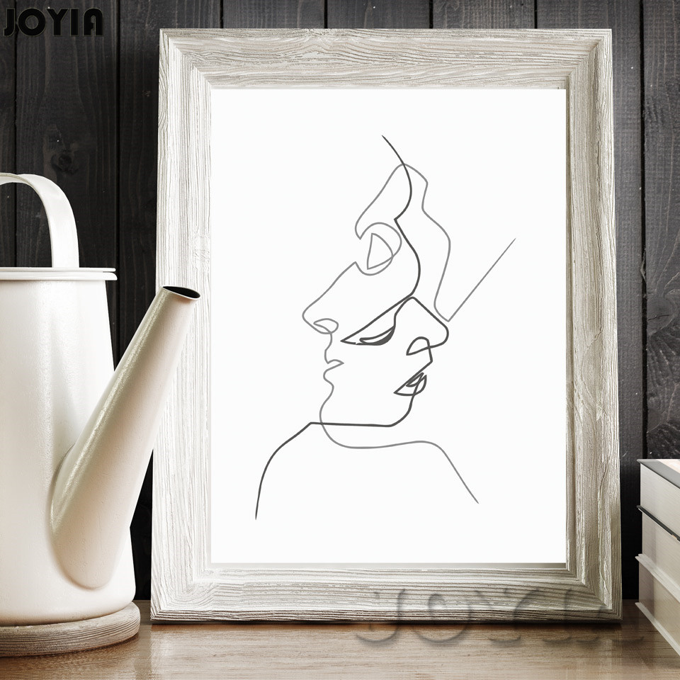 Buy kiss picasso minimalist art canvas for Modern home decor black and white