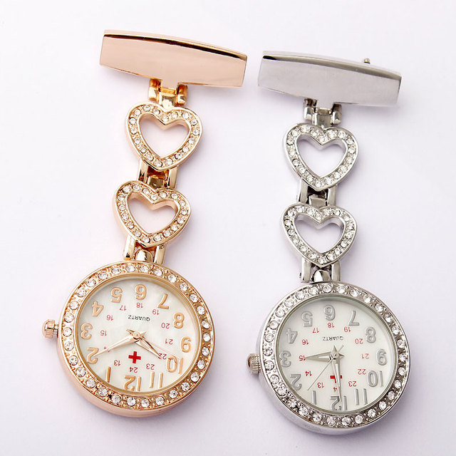 Fashion Full Crystal Dial Steel Nurses Pin FOB Watch Clip-on Heart-shaped Hangin