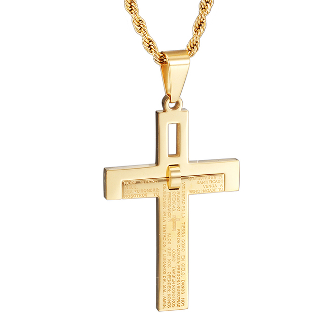 Heyrock bible scripture cross necklace for men women golden titanium heyrock bible scripture cross necklace for men women golden titanium stainless steel jewelry cross pendant necklace mozeypictures Choice Image