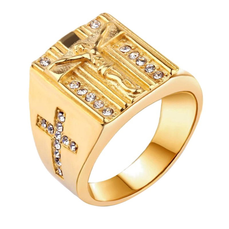 New Style Gold Rings Dimond Cross Chrisitian Cool Hiphop Finger Rings For Men