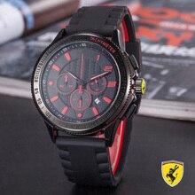 5b3bbea7bd Marca de luxo correia de borracha relógio relógio série relógio dos homens  casuais de esportes de corrida Ferrari 6-pinos de tra.