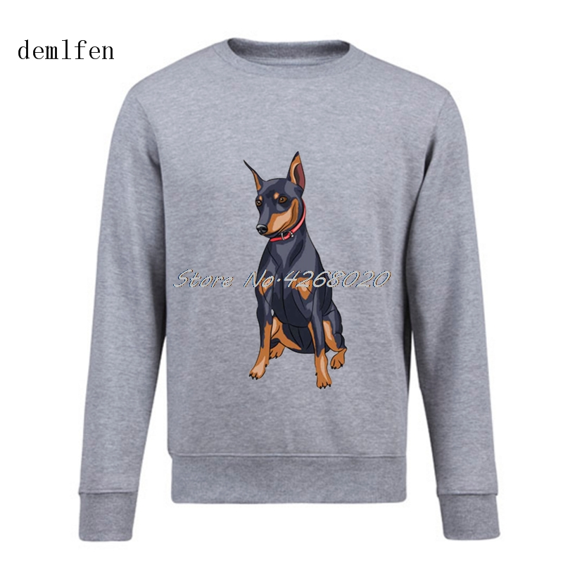New Cotton Grey Hoodie Activewear Miniture Pinscher