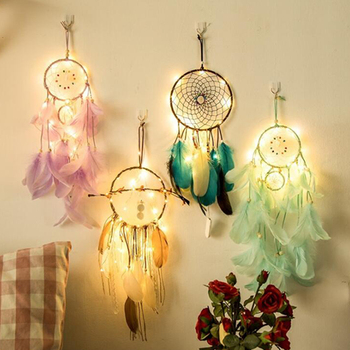 LED Fairy Lights Night Light Feather Crafts Purple Dream Catcher Colorful lamp Home/Bedroom/Girl Room Wall Hanging Decor