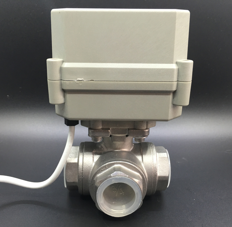 AC110 230V Power Off Return Valve 3 Way L/T Type BSP/NPT 1/2'' Stainless Steel Electric Shut Off Water Valve 10Nm - 3