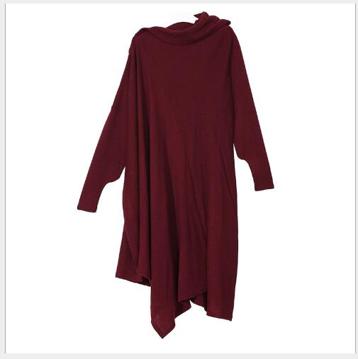 Outwear Section Manches Longues Robe Automne wine Femmes 2018 Col De Solide Lâche Green army Dame Casual Roulé Black grey Mode Longue Asymétrique Red Nouveau PXZxwdqwa
