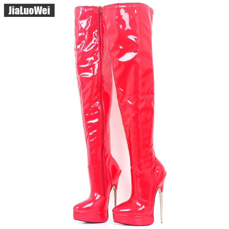 2018 Women Spring Over-The-Knee Boot 18cm Thin High Heel Sexy Fetish Ladies Zip Fashion Thigh Long Nightclub Pole Dancing Boots 20cm pole dancing sexy ultra high knee high boots with pure color sexy dancer high heeled lap dancing shoes
