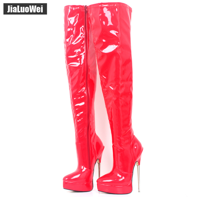 bcb563af99d 2018 Women Spring Over-The-Knee Boot 18cm Thin High Heel Sexy Fetish Ladies  Zip Fashion Thigh Long Nightclub Pole Dancing Boots