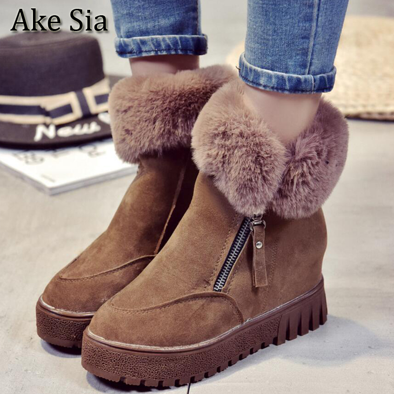 Ake Sia TOP Western Women Student Winter Snow Warm Cotton Martin Ankle Boot Thicken Villose Pily Bottine Flat Shoes Booties F180 ake sia british winter fashion women warm hairy fluff slip on snow bottine martin boots increased with shoes ankle booties f275