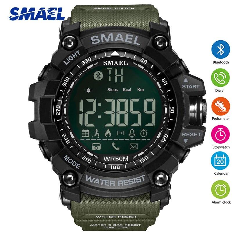 SMAEL Bluetooth Smart Orologio di Stile Degli Uomini di Sport Della Vigilanza di Marca Top Verde Dell'esercito Chiamata di Promemoria Calorie Digital Orologi da Uomo Relogio reloj