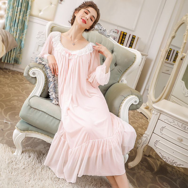 Nightgowns     Sleepshirts   2019 Sexy Dresses Princes Lace Sleepwear Home Dress Solid Sleep & Lounge Nightdress   Nightgown   Female
