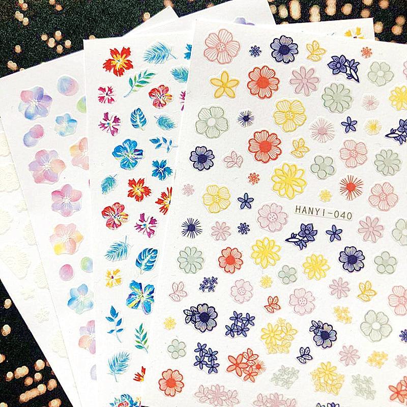 Más reciente 3d etiqueta engomada del arte del clavo SOLONAIL hanyi-40 flor colorida calcomanías Herramienta DIY Decoración de uñas Herramientas del arte del clavo calcomanía herramientas