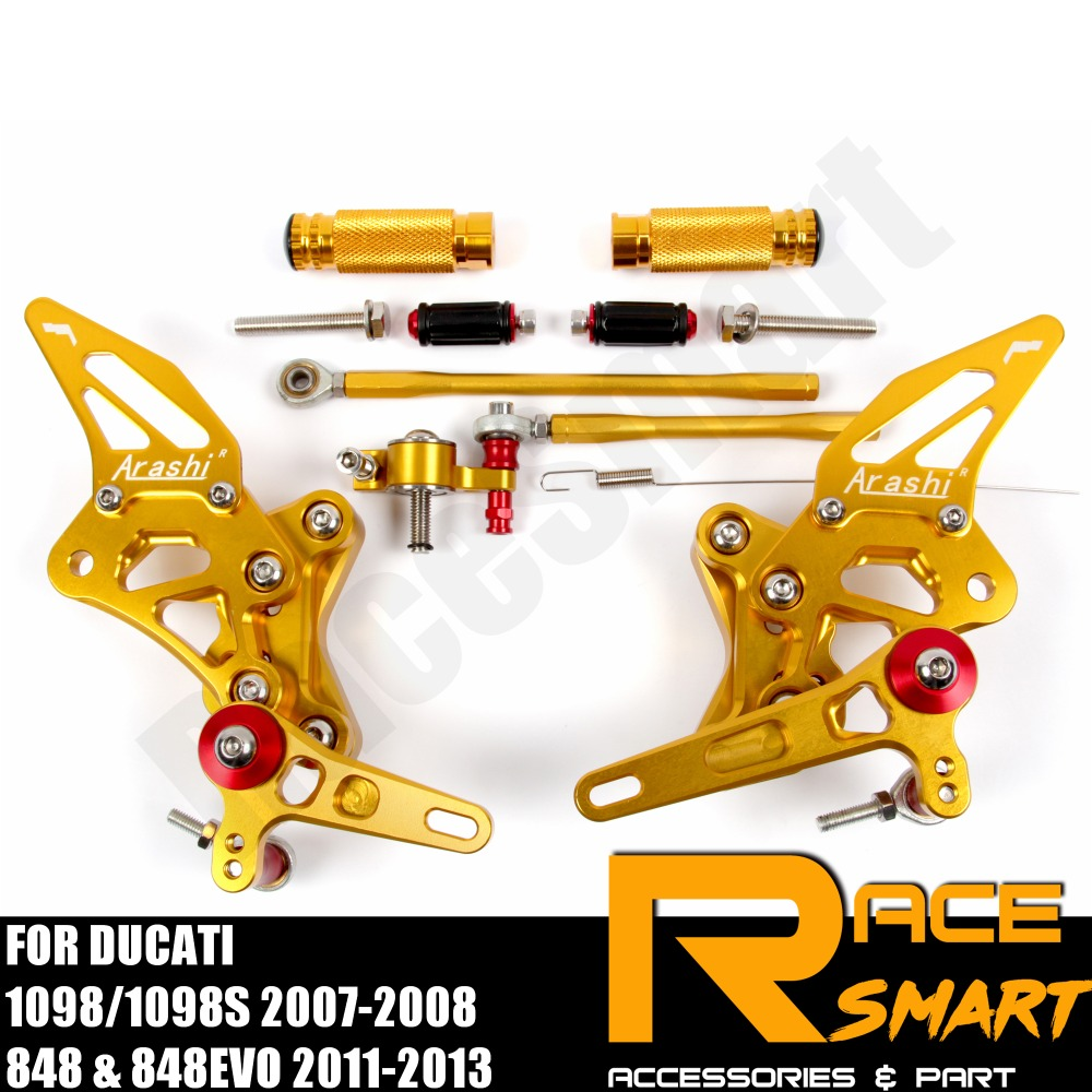 FOR Ducati 1098 1098S 2007 - 2008 848 Rear Footrests Foot Rest Pegs Pedal Motorcycle Accessories CNC Adjustable Rearset Footpegs