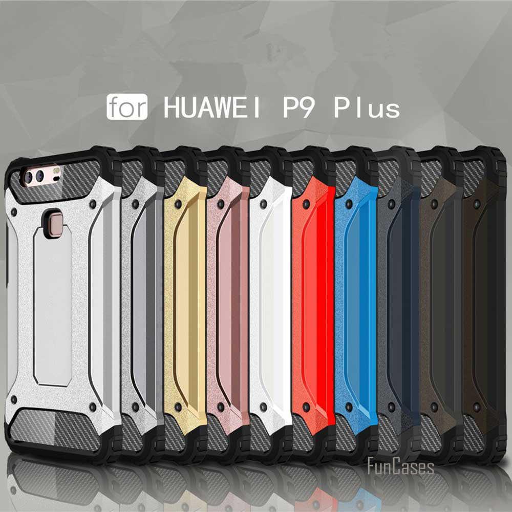 Nuovo per Huawei P9 Lite P9 Più Il Caso di Heavy Duty Diamante Armatura Antiurto Hybrid Dura Del Silicone Molle di Gomma Robusta Del Telefono della Copertura Della Cassa