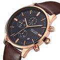 MEGIR Relógios Dos Homens Top Marca De Luxo 24 Hora 6 a Função Da Mão Relógio Cronógrafo Militar Couro Genuíno dos homens de Pulso de Quartzo relógio