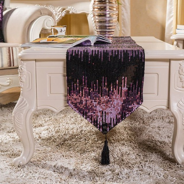 Trendy Hot Sequin Household Coffee Table Runners Shiny Fringed Tablecloths  Home Party Wedding Table Decoration