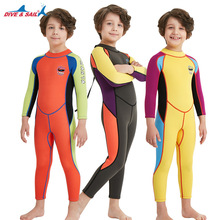 2.5mm Neoprene Wetsuit Kids Boys/Girls Diving Wet Suit Child Swimwear One-piece Long Sleeve Rash Guard Sunscreen Warm Clothing K
