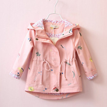 цена на Spring Autumn Girls Windbreaker Coat kids jackets Baby Kids Flower Embroidery Hooded Outwear Baby Kids Coats Jacket Clothing