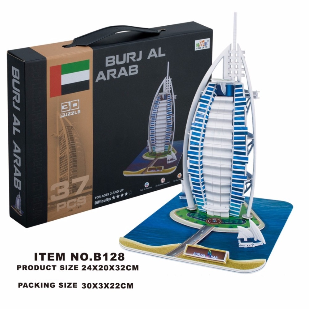 Classic Jigsaw Puzzle Burj Al Arab World Architecture DIY Enlighten Construction Brick Toys Scale Models Sets City For Children