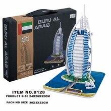 Clássico Puzzle Burj Al Arab Mundo Arquitetura DIY Iluminai Construção Tijolo Brinquedos Conjuntos de Modelos Em Escala Da Cidade Para As Crianças