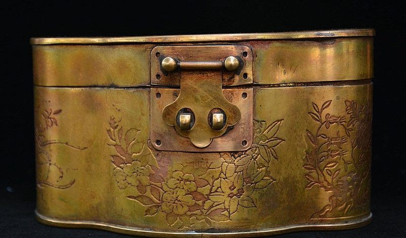 6 China Bronze Flower Dragon Phoenix Pattern Bijou Jewelry Casket Box Jewel Case