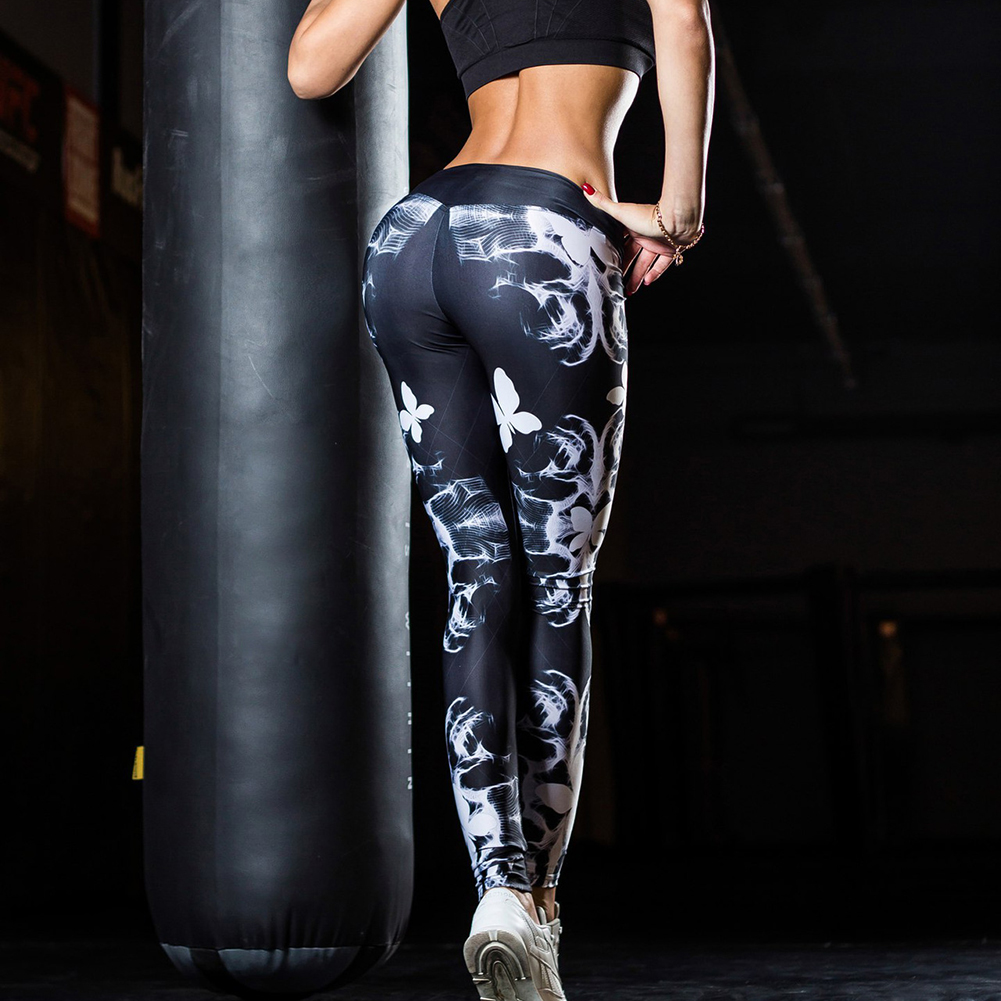Breathable Women's Gym Yoga Leggings  Floral Prints Pants Running Fitness Trousers Outdoor Excercise Long Pants Tight Leggings 3
