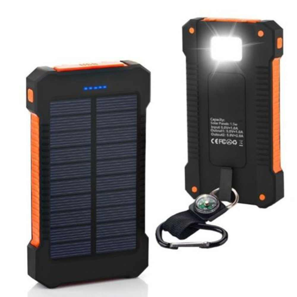 30000mAh Portable Solar Power Bank Dual USB Solar Battery Charger Waterproof with Strong LED Light for All Phone