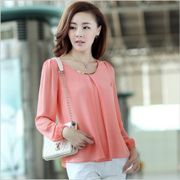 New Fashion Hot Sale Plus Size Casual Long Sleeve Chiffon Blouse ...