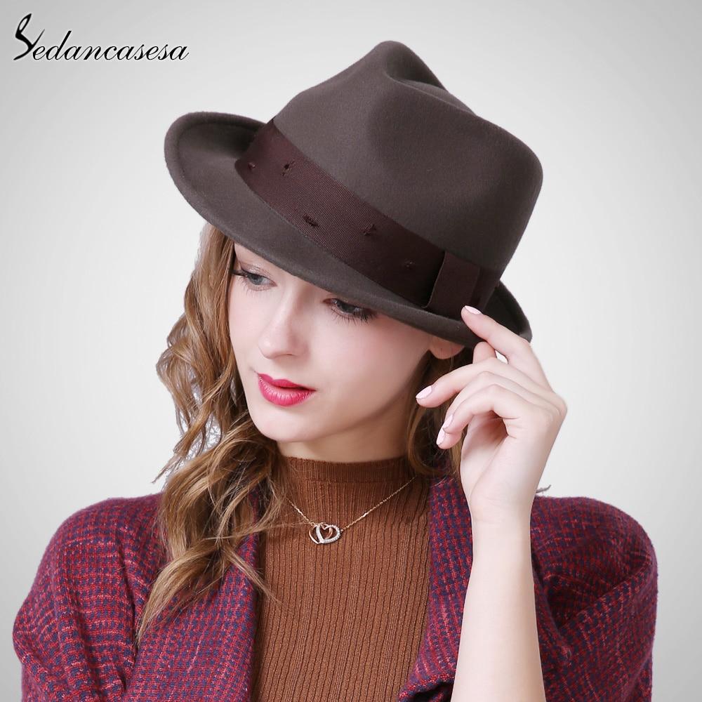 Sedancasesa New Female Fedora Hat Autumn Winter New ...