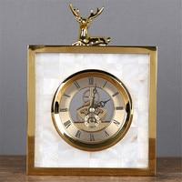White Shell Metal Clock with Deer Living Room TV Cabinet Desk Decoration Creative Desk Clock Ornaments Deer Clock Best Gift