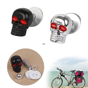 Image 1 - 4PCS Useful Motorcycle Chrome Skull License Plate Frame Bolts Screws Caps Fastener Nuts Bolts Nails Screws INY