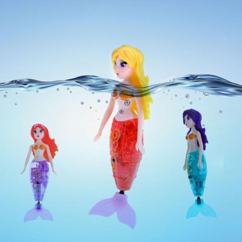 Action Figure Robot Small Mermaid Fish Tail Swimming Dolls Creative Water Mermaid Toys Electronic Mermaid Kids Random Hair Color
