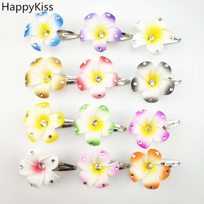 Hot new 12pcs 4cm Simulation Hawaii Flower Hair Clip Egg Flower Hairpin Headdress for Beach Luau Party frangipani girls image