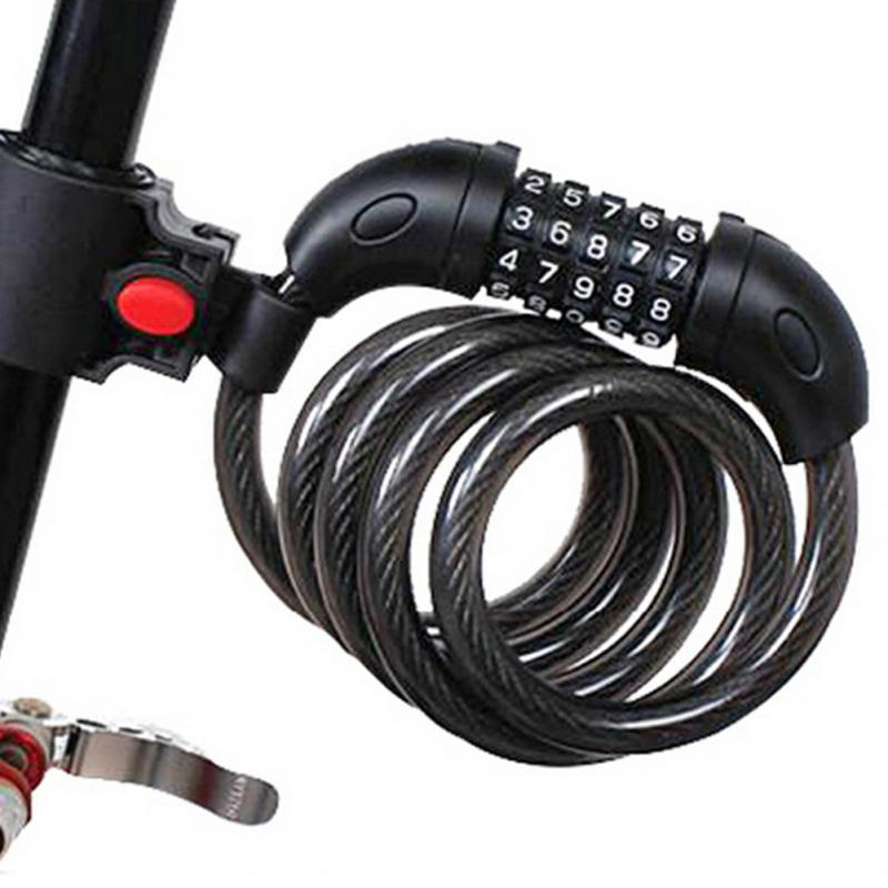 5 Digit Combination Bike Bicycle Cycling Security Code Lock Cable 1200x12mm Anti Theft Cycling Chain Five-digit Password Lock digit 130