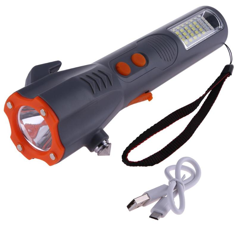 Multipurpose Magnetic 29LED Flashlight Safety Escape Rescue Window Breaker Emergency Hammer Tool USB Flashlight Magnet COB Torch