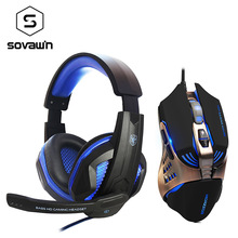 On sale Computer Bass LED Gaming Headset Stereo Gamer Over-ear Headphone with Microphone + 3200 DPI 7 Button Macro Program Game Mice